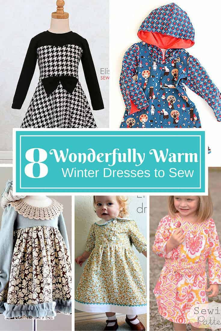 Little girls need to stay warm in winter, but can't stop wearing their favourite dresses. Sew up one of these wonderfully warm winter dresses and stop worrying about your little girl getting cold! | sewing patterns and tutorials