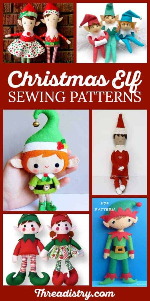 Sew your own Elf on the Shelf with these fun DIY sewing patterns, including how to make Christmas Elf dolls (boy and girl!), ornaments and quilts. #ChristmasSewing #HandmadeChristmas #sewing