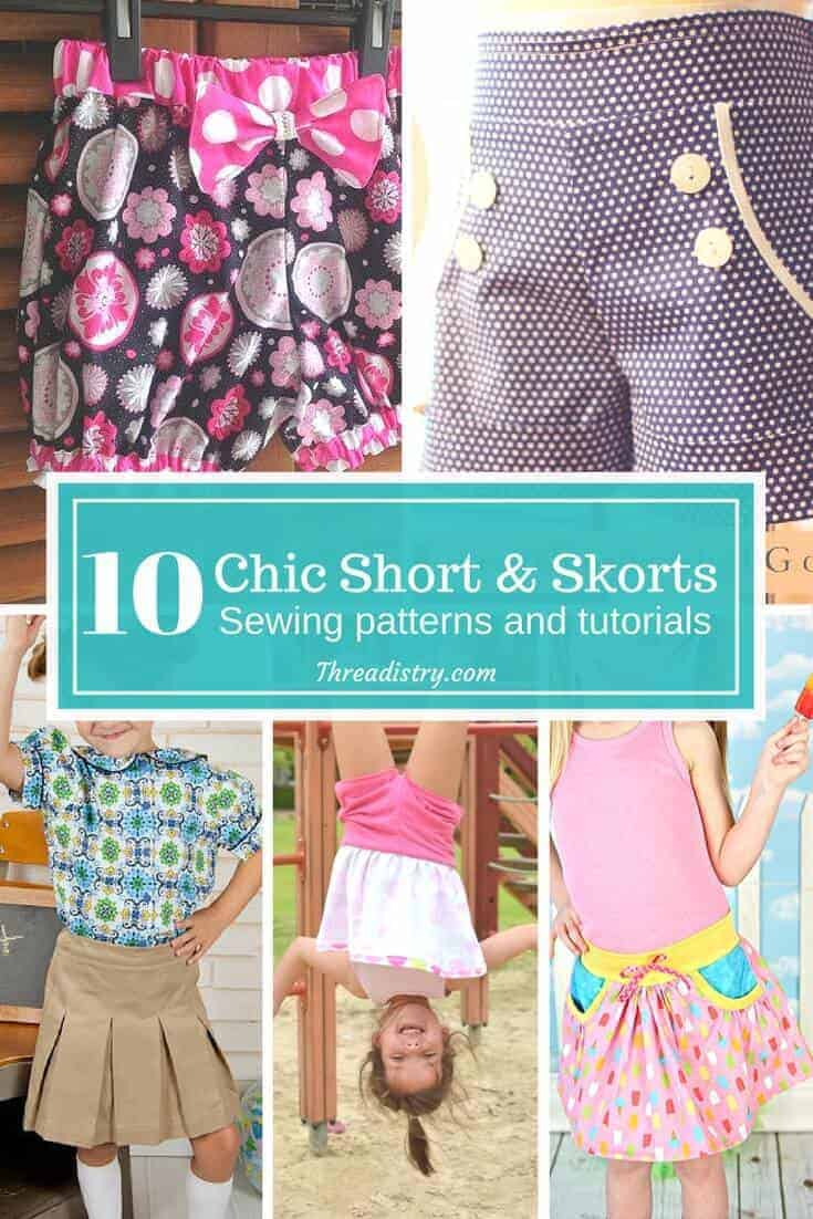 Just because a girl likes climbing trees, doesn't mean you can't sew pretty things for her. I love this collection of skorts and shorts patterns to sew for an active little girl.