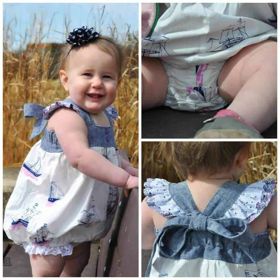 Molly bubble romper sewing pattern for girls and babies