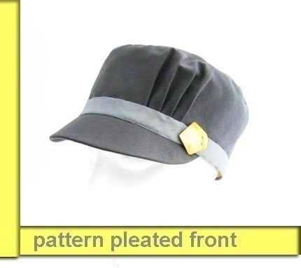 Feminine baseball hat sewing pattern with pretty pleated detail
