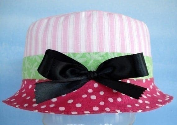 Bucket hat sewing pattern for babies and toddlers by Precious Patterns - I love the fabric!