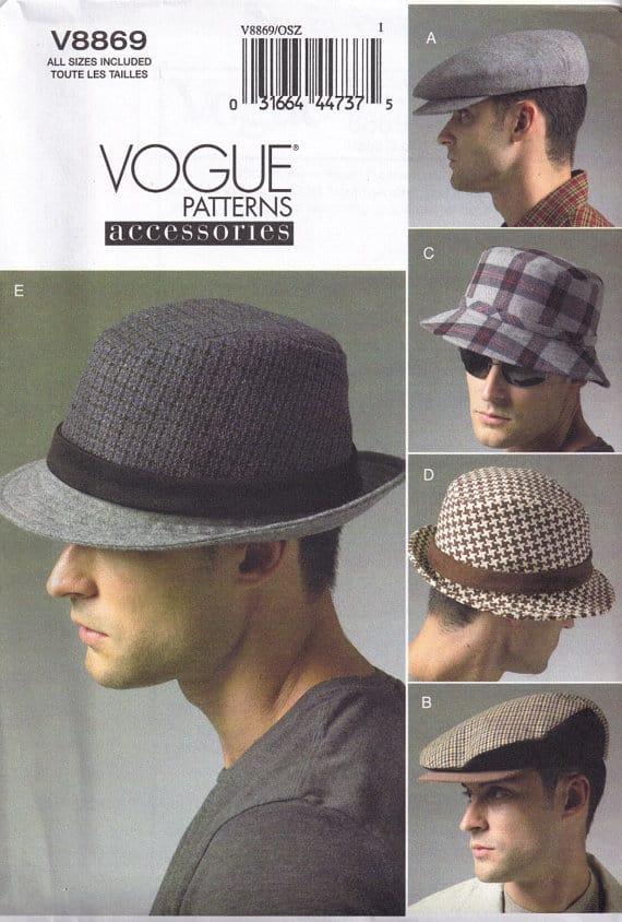 Vogue 8869  mens hat sewing pattern - fedora, bucket, golf hat