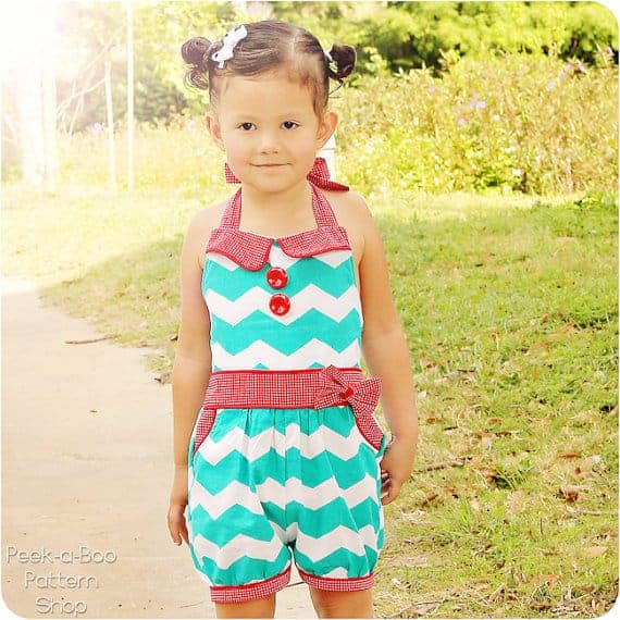 Adelaide vintage romper sewing pattern for babies and girls