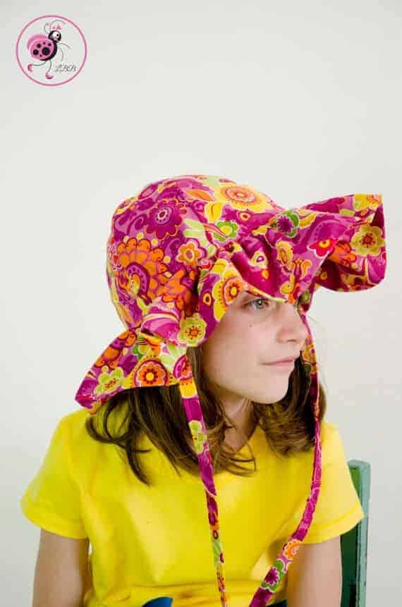 Ruffle Sun hat sewing pattern for girls from Ladybug Bend