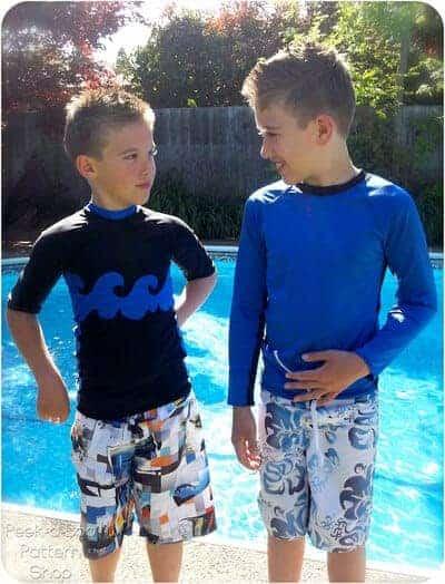 Hang Ten rash guard sewing pattern for boys (aka rash vest or rashi)