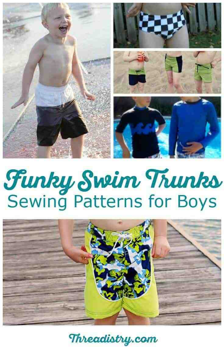 Time for some summer sewing with these funky swim trunks sewing patterns for boys - everything from Euro style swimsuits to boardshorts, with Speedos and a rash guard/vest thrown in too. Find the perfect fabric and sew up some stylish swimmers for your boy!
