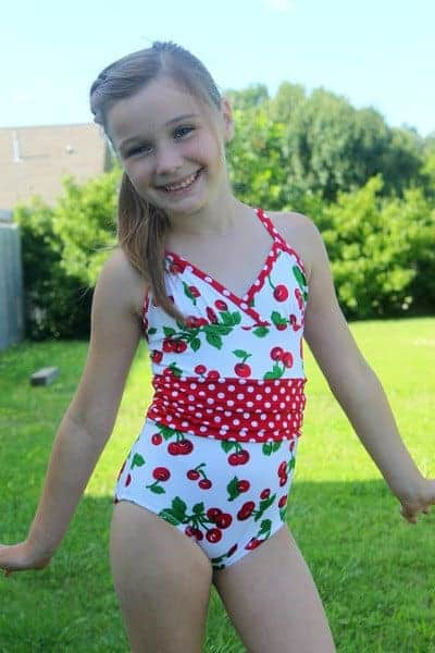 Stylish one piece swimsuit sewing pattern for girls.