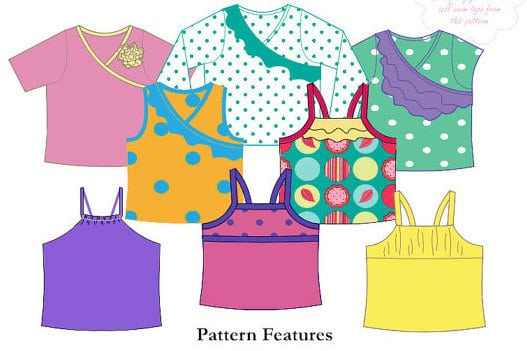 BellaBum swim tops sewing pattern for girls including tankini and rashi options