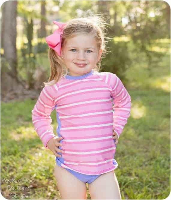 Girls Rash Guard rashi rash vest sewing pattern with long sleeve and short sleeve options.