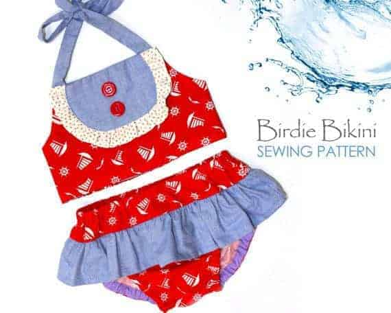 Birdie Bikini sewing pattern for girls with a vintage style