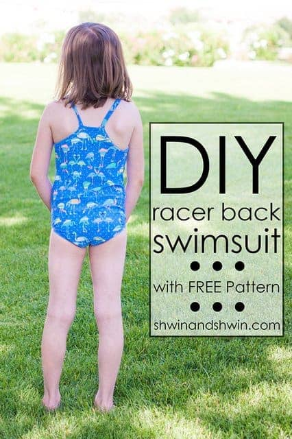 Simple racer back swimmers one piece swimsuit sewing pattern