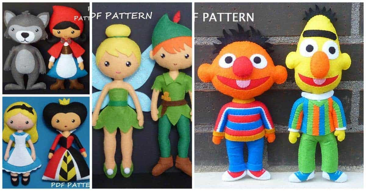 Classic story book character felt doll sewing patterns, Peter Pan and Tinkerbell, Little Red Riding Hood and the Big Bad Wolf, and Alice in Wonderland and the Queen of Hearts. Cutest felt doll sewing patterns ever!