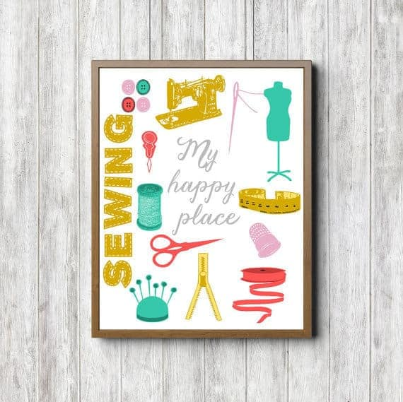 My Happy Place Sewing Quote Printable Wall Art