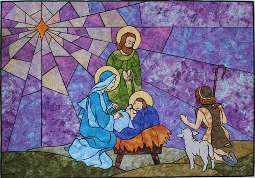 Stained glass nativity quilt sewing pattern