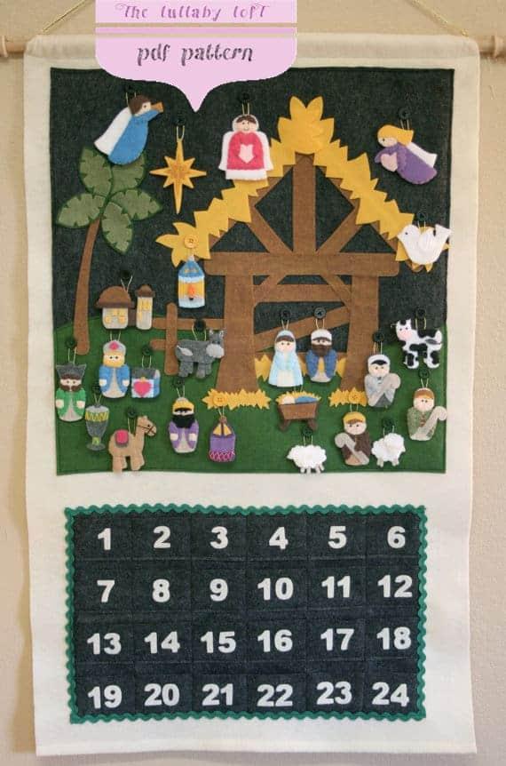 Felt natvity advent calendar sewing pattern