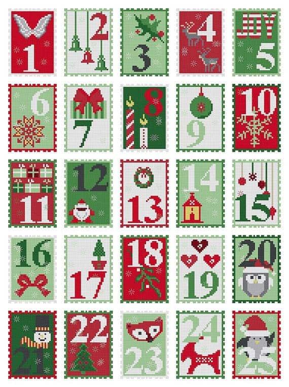 DIY cross-stitch advent calendar sewing pattern