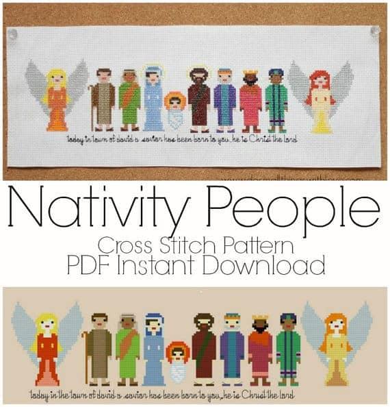 Pixel people nativity cross stitch pattern