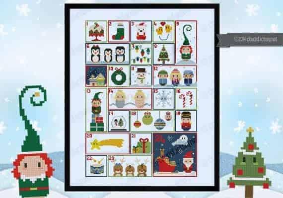 CloudsFactory DIY whimsical cross-stitch advent calendar sewing pattern