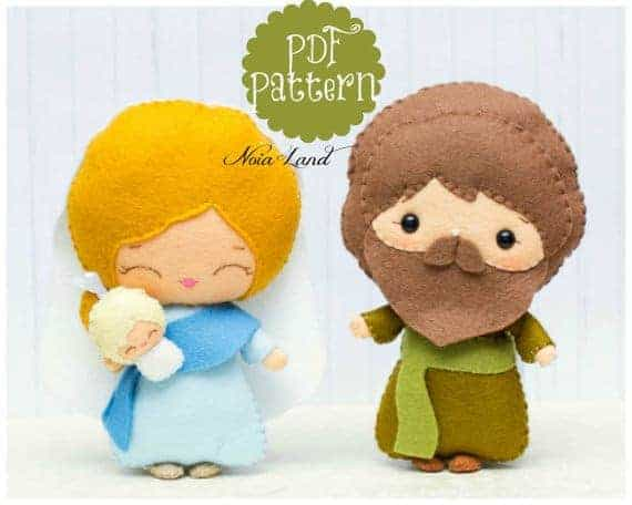 Felt Jesus and Mary sewing pattern