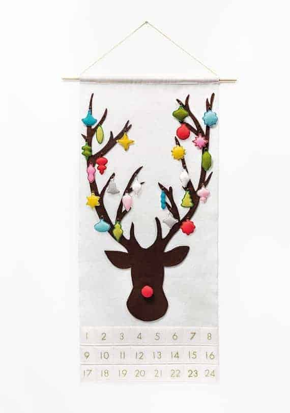 Rudolph the red-nosed reindeer advent calendar DIY sewing pattern