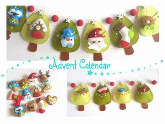 Whimsical DIY felt bunting advent calendar sewing pattern