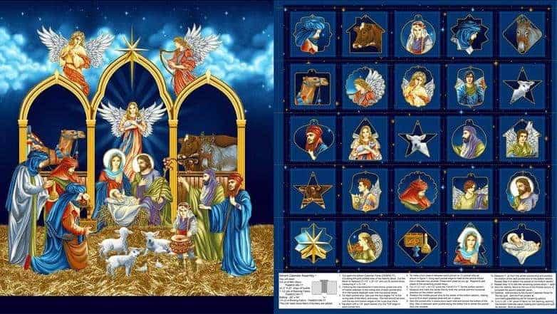 "Henry Glass Metallic Silent Night Advent Calendar 24"" Fabric Panel Midnight"