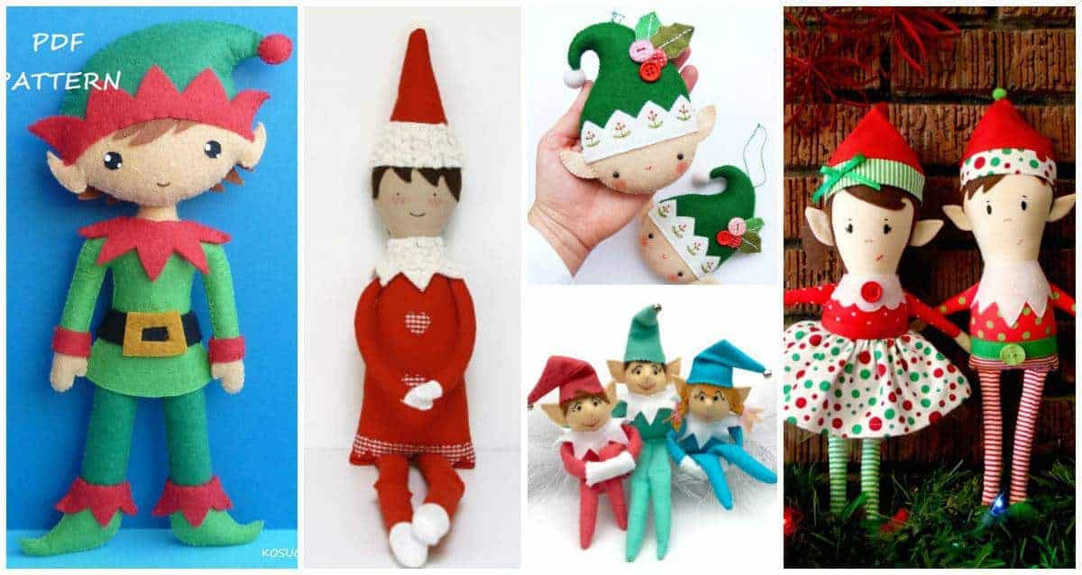 Cutest Christmas Elf Sewing patterns - make your own DIY Elf on a Shelf.