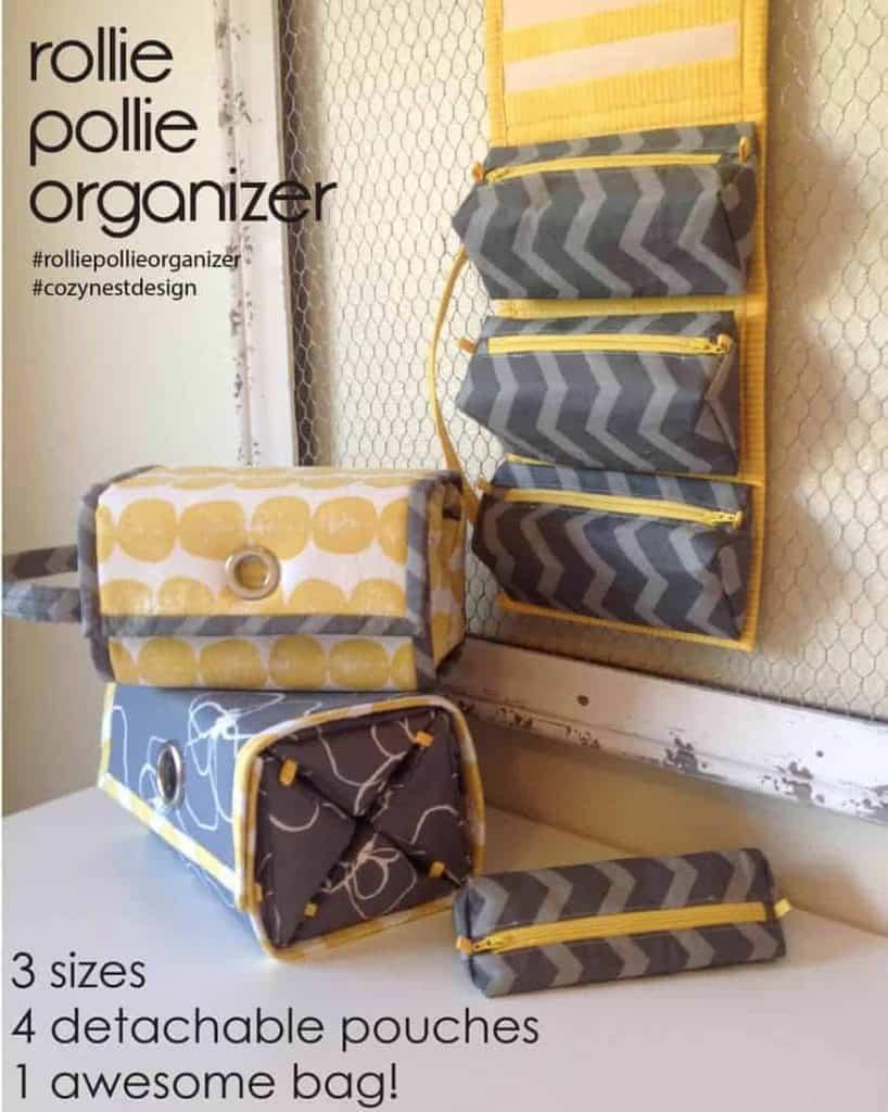 Rollie Pollie Organizer sewing pattern by Cozy Nest Design.