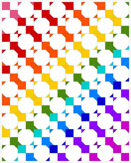 Easy rainbow quilt pattern. Great scrap busting project. Free quilting tutorial.