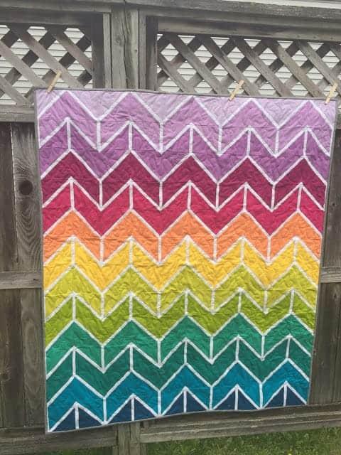 Foundation-pieced rainbow chevron quilt pattern from Kathleen Monica