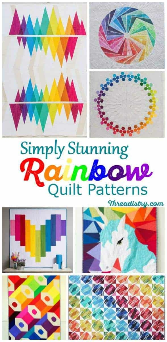 Rainbow quilt patterns make me happy! I love all these rainbow quilt ideas. They make great DIY baby shower gifts and are fantastic scrap-busting projects. So beautiful!