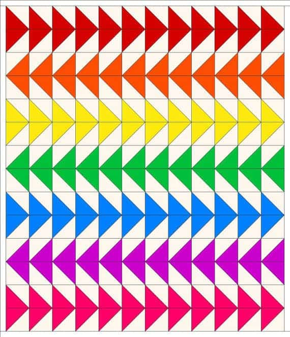 Rainbow Geese Quilt Pattern - one of a great collection of easy rainbow quilt designs on Threadistry.