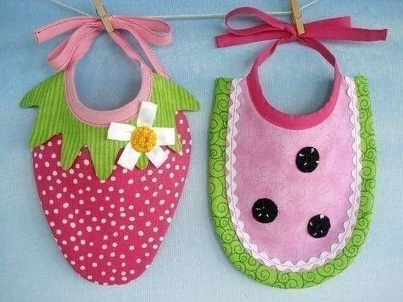 Strawberry and watermelon baby bib sewing patterns are so cute and easy to make for a baby shower gift.