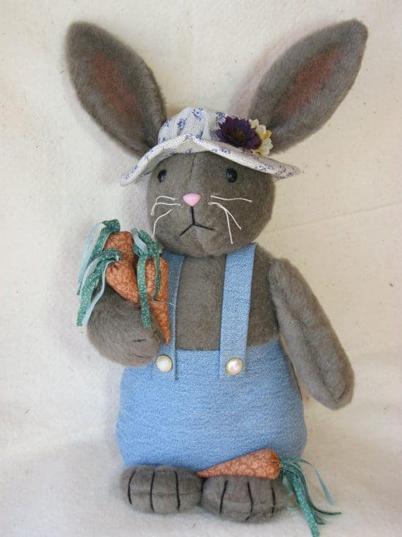Country rabbit sewing pattern with overalls, hat and carrots