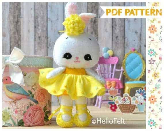 Felt Ballerina Easter Bunny patterns to sew by Hello Felt. So cute!