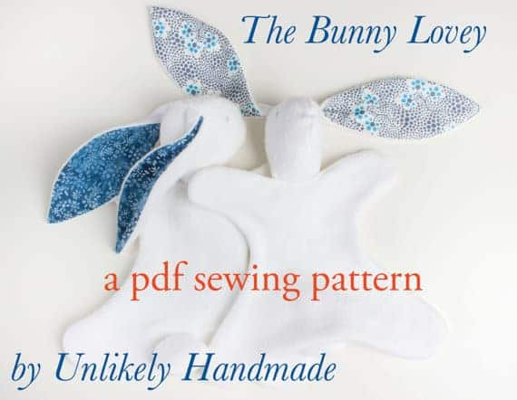 The Bunny Lovey sewing pattern from Unlikely Handmade is a sweet little blanket doll