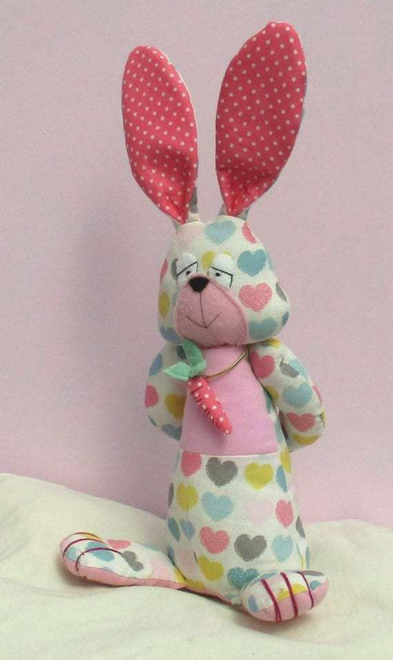 A fun and colourful rabbit sewing pattern by PC Bangles