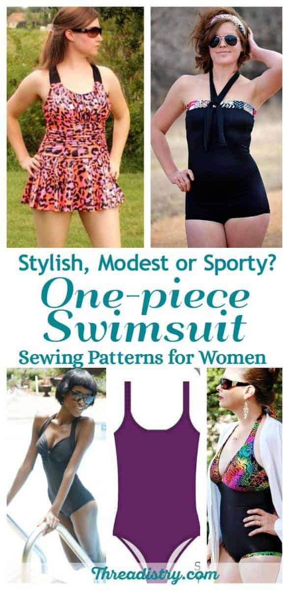 DIY one piece swimsuit sewing patterns for women. Make the perfect fitting swimmers for ladies with these patterns. There's a great selection of patterns including stylish, sporty and modest designs. Let's get sewing!