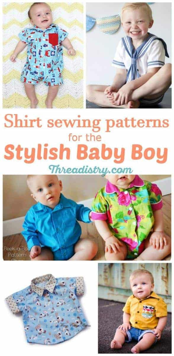I love a baby boy in a button-up shirt. They are the cutest baby sewing patterns. This is the cutest collection of baby shirt patterns to sew for boys. DIY baby shower gift ideas | Handmade baby gift | Baby boy clothes patterns | Oxford shirt sewing pattern | Romper sewing patterns for boys | Sewing for Baby | Sewing for Boys