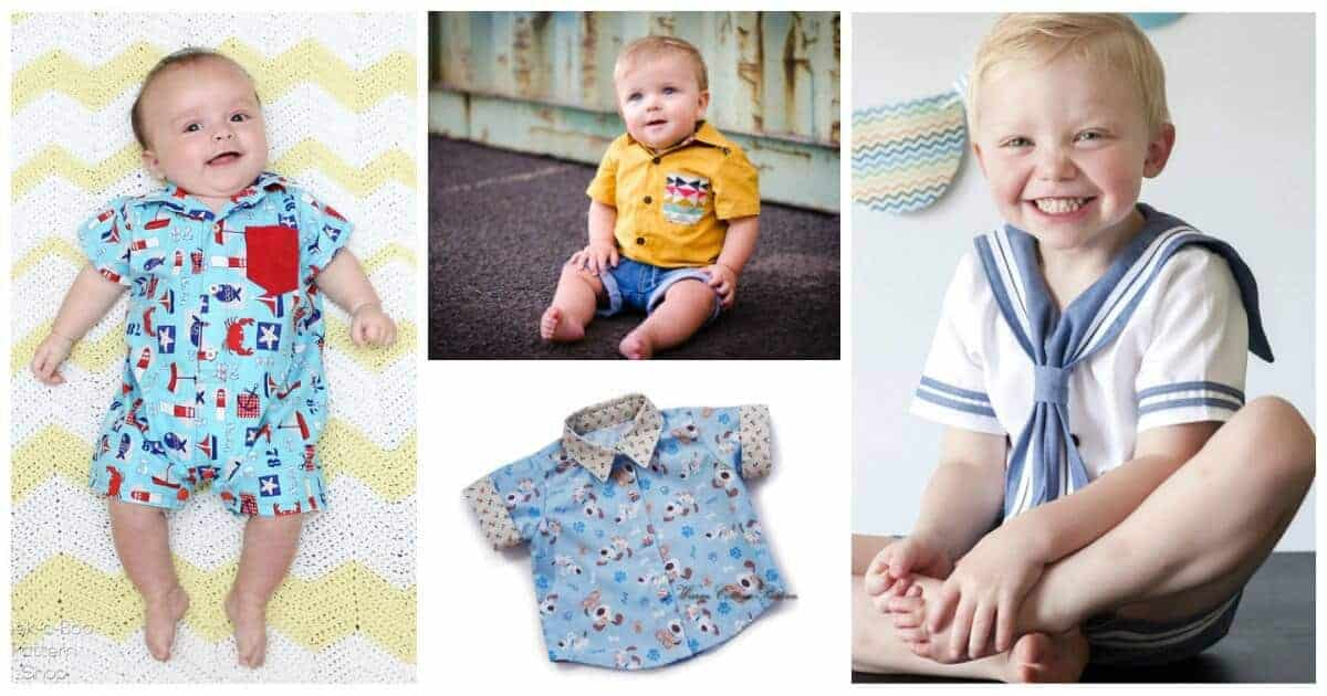 Great collection of cute baby boy shirt sewing patterns, including some shirt-style baby rompers.