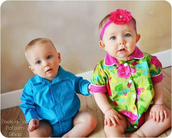 Max & Matilda Button-Up Bodysuit with a collar sewing pattern from Peekaboo Patterns.