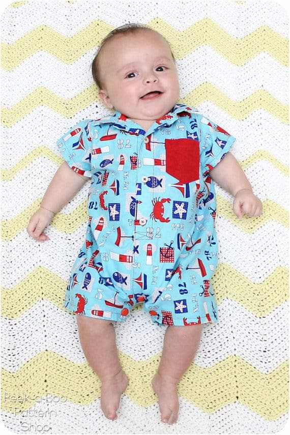 Pat-a-cake baby romper with collared shirt sewing pattern from Peekaboo patterns
