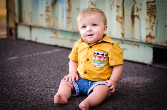 Troop shirt and romper sewing pattern from Tadah Patterns