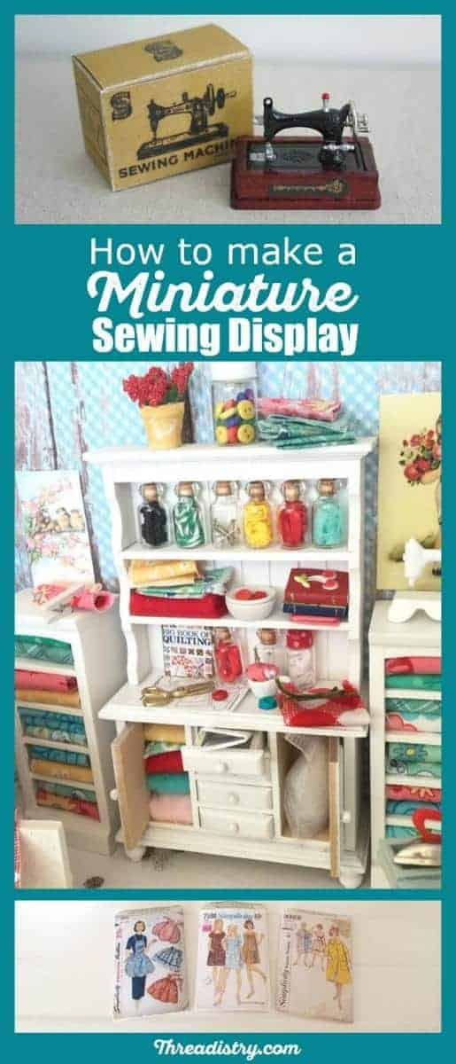 I love my daughter's dollhouse, but it needs a sewing room. Lucky I have a spare shelf in my sewing room. I love the ideas for how to make a miniature sewing room, complete with tiny sewing machine, ironing board, thread spools, pin cushions, a dress form and more accessories. Fun DIY inspiration from Etsy for the home and a great gift idea for Christmas or birthday for someone who loves to sew.