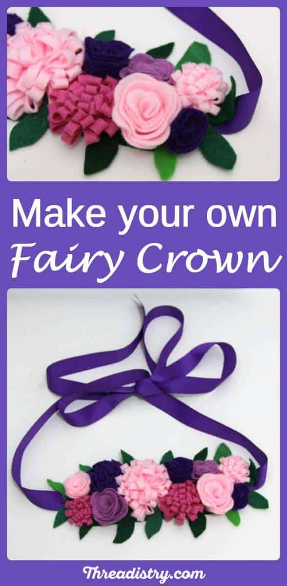 DIY felt fairy crown for princesses, elves and faeries. Make a beautiful woodland style flower headband. It's a fun fairy costume headdress for girls for Halloween or just a fairytale dress up gift idea. My kids will feel like a fairy queen while wearing this!