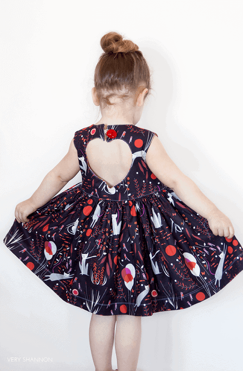 Sweetheart dress sewing pattern for girls by Very Shannon.