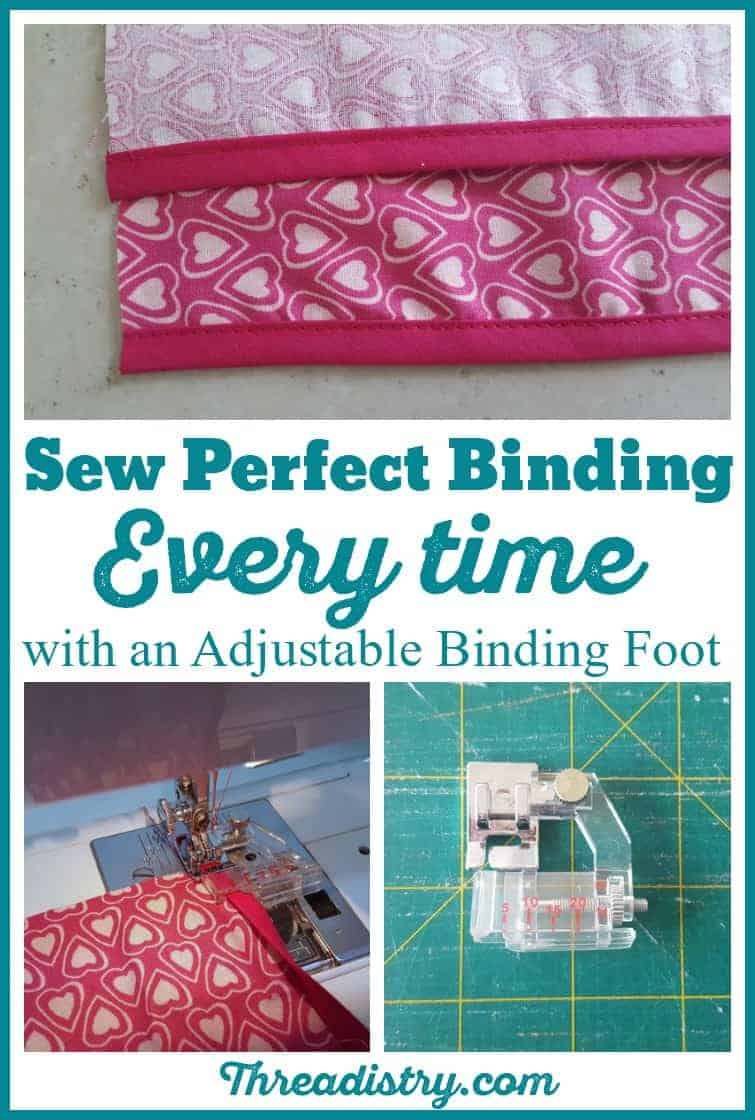 Sew perfect binding every time with an adjustable binding foot. An easy tutorial with lots of tips here for how to use this quilt binding foot (which can also be used for clothes too). I'll never sew bias binding another way after using this cheap tool that's available for most sewing machines, including Janome, Brother and Bernina.  #biasbinding #sewing #sewingmachinefeet