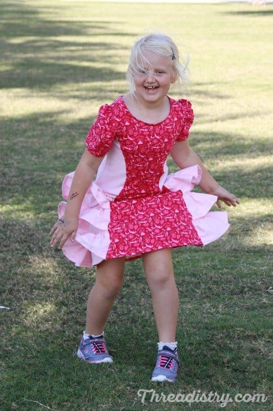 Ruffled short sleeve dress sewing pattern for girls from Ellie and Mac.