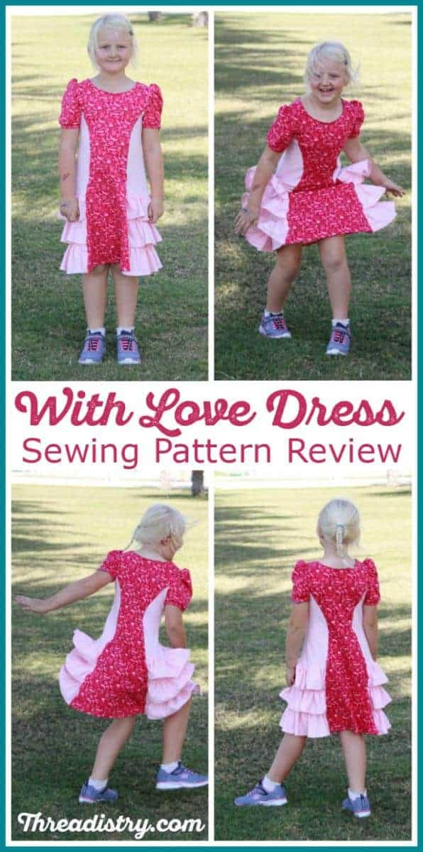 Girls' With Love dress pdf sewing pattern review. This beautiful dress from Ellie and Mac is a fun but practical dress for girls is easy to make and perfect for beginners.